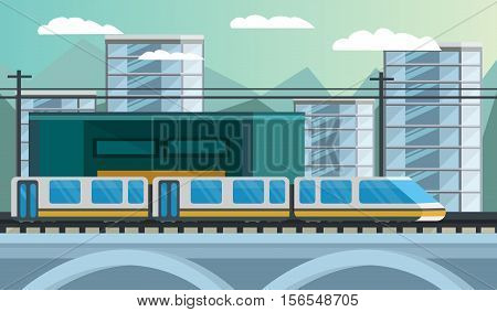 Railway transport composition including modern train and station on city landscape background orthogonal vector illustration