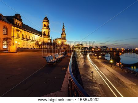 The Elbe waterfront in the evening Dresden Germany Europe.