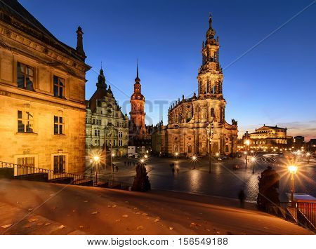 View of Dresden in the evening. Germany Europe.