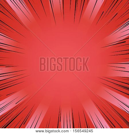 Abstract comic book flash bright red explosion radial lines background. Vector illustration for superhero design. Light strip burst. Flash ray blast glow Manga cartoon hero fight cute print