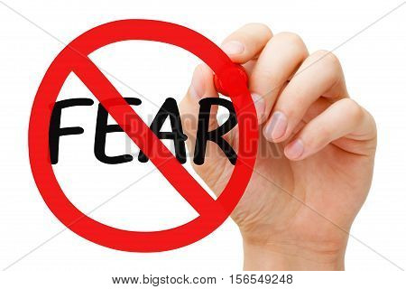 Hand drawing Fear prohibition sign concept with marker on transparent wipe board.