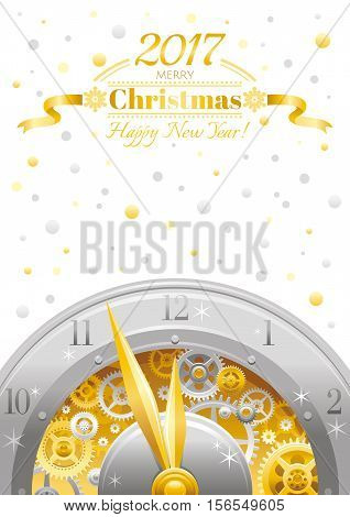 Merry Christmas and New year flyer. Greeting card design with clockwork, cogwheel, minute, hour hand, vintage clock element on white background. Gold silver Xmas icon, text lettering, golden stars sky