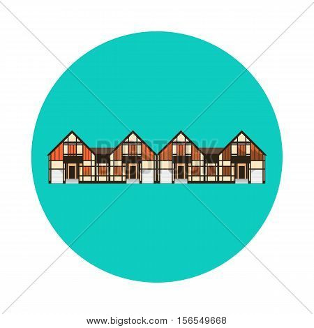 Flat house icon isolated on white background. Vector illustration for real estate design. Cute cartoon home sign. One storey building. Architecture symbol. Residential cottage. Property village.
