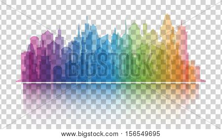 Cityscape colorful icon on transparent background. Skyline silhouette. Town architecture skyscrapers. International urban landscape. Megapolis panorama. Vector illustration on transparent background