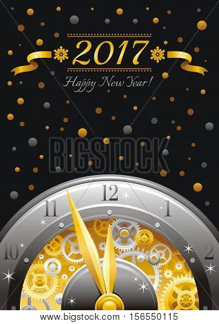 Merry Christmas and New year 2017 frame border. Greeting card design with clockwork, cogwheel, minute, hour hand, vintage clock element, black background. Gold silver icon, text lettering, golden star