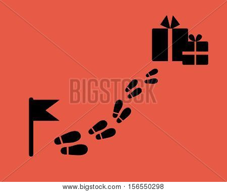 Find a gift. Flag with footstep and surprise. Flat style.