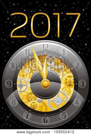 Merry Christmas and New year 2017 luxury banner. Greeting card design with clockwork, cogwheel, minute, hour hand, vintage clock element on black background. Gold silver icon, text letter, gold stars