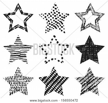 Set of hand-drawn textures star shapes. Vector illustration for stellar cool design. Frame for Insignia. Black star isolated on white background.