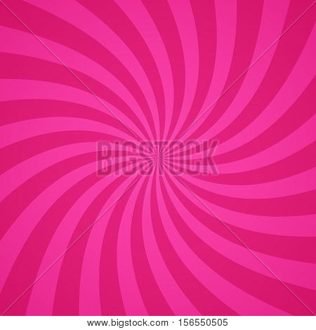 Swirling radial bright pink pattern background. Vector illustration for swirl design. Vortex starburst spiral twirl square. Helix rotation rays. Scalable stripes. Fun sun light beams.