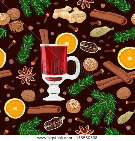 Mulled wine spices seamless pattern vector set with glass of drink, all ingredients. zest, cloves, nutmeg, star anise, sugar, cinnamon, citrus, cardamom, ginger, green fir twigs. Known as gluhwein