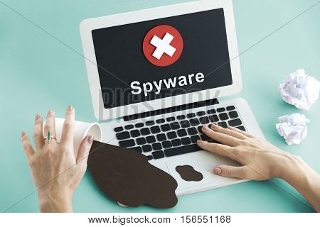 Unsecured Unavailable Spyware Crash Denied Concept