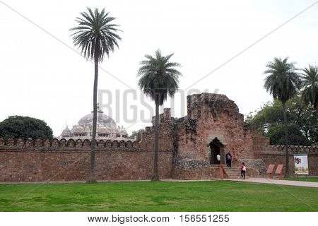 DELHI, INDIA - FEBRUARY 13: Entrance of Isa Khan tomb, Humayun's tomb complex, Delhi, India on February 13, 2016