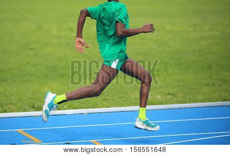 African Athlete Won The Foot Race With Long Strides And His Musc