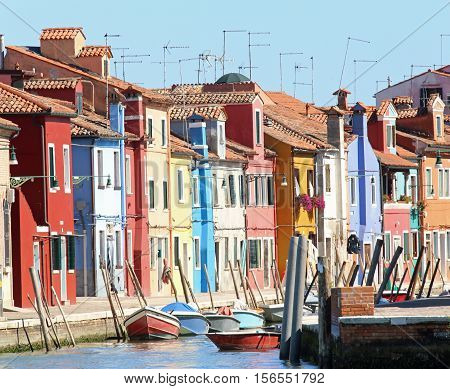 Colourfully Painted Houses On Burano Island Near Venice In North