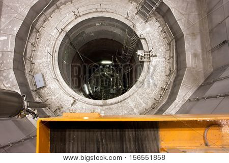 ZWENTENDORF, AUSTRIA - JUNE 1, 2013: Inside the reactor pressure vessel of Zwentendorf Nuclear Power Plant on June 1, 2013. The first nuclear plant in Austria has a boiling-water reactor rated at 692 MW