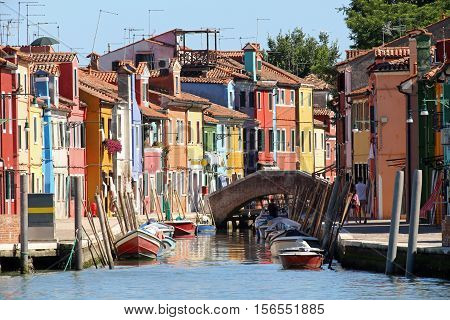 Colourfully Painted Houses On Canal In Burano Island Near Venice