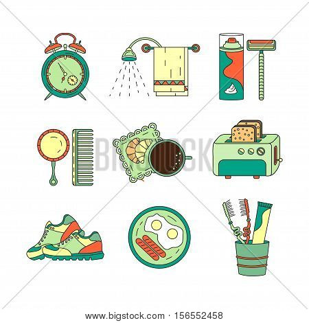 Good morning thin line vector icon set. Breakfast, coffee, sports, hygiene - modern symbols of good start to the day.