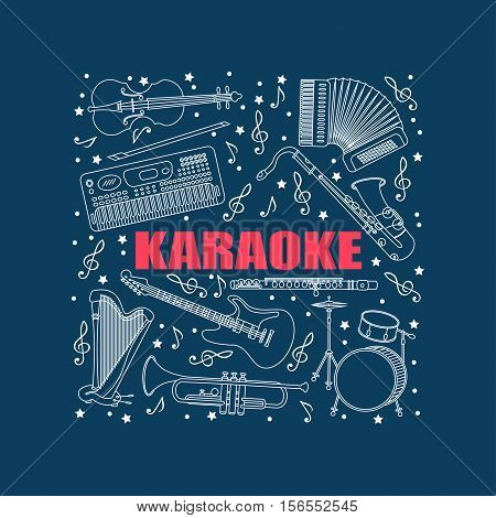 Vector illustration with different music instruments synthesizer, drums, accordion, violin, trumpet, harp, drum, saxophone electric guitar flute Place for your text Karaoke