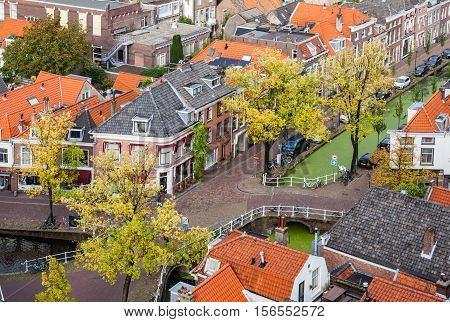 The aerial view of Delft old town