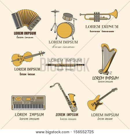 Vector thin line music logos synthesizer, drums, accordion, violin, trumpet harp drum saxophone electric guitar flute