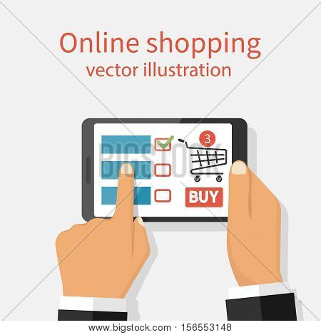 Online shopping concept. Holding the tablet in hands internet shopping. Ecommerce. Vector illustration flat design. App for purchases on device. Isolated on white background. Button buy basket sign.