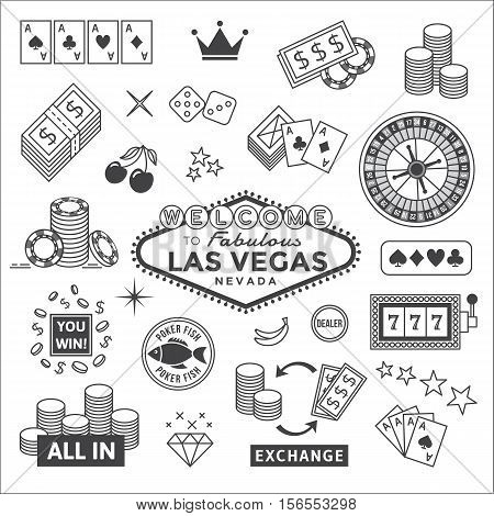 Icons set on gambling in Las Vegas.