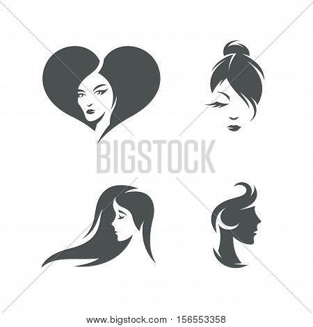 Women faces symbols set. Retro style design elements for beauty salon logo design, emblems, stickers, wall decor, prints and posters. Vector vintage illustration.