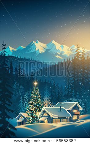 Winter festive mountain landscape with houses and Christmas tree. Raster illustration.