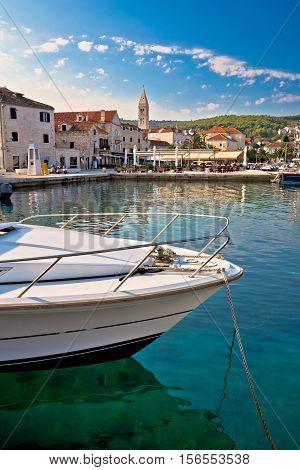 Town of Supetar turquoise waterfront vertical view island of Brac Dalmatia Croatia
