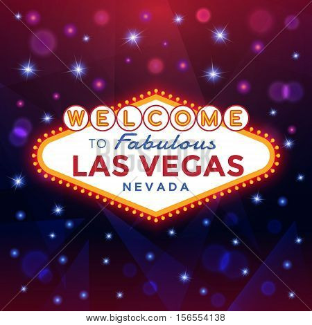 Vector Las Vegas Sign against the night sparkling background.