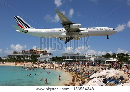 Air France Airbus A340-300 Airplane Landing Sint Maarten Airport