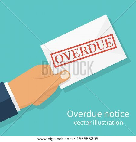 Hand holding letter Overdue Notice. Past due final notice. Junk mail. Envelope with the stamp in hand. Receive mail. Vector illustration flat design. Isolated on background. poster