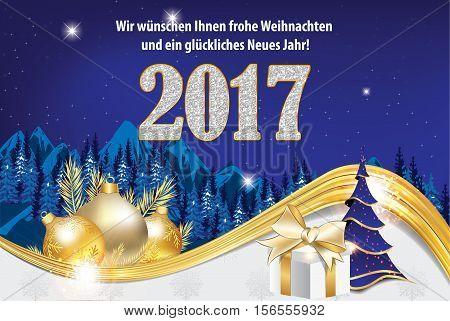 We wish you Merry Christmas and Happy New Year - german language: Wir wunschen Ihnen Frohe Weihnachten und ein Gluckliches Neues Jahr - greeting card for winter holiday. Print colors used. Custom size