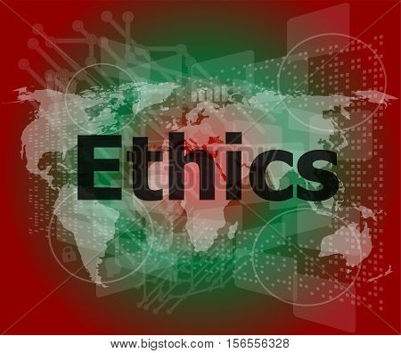 ethics word on business digital touch screen