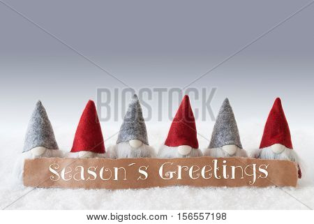 Label With English Text Seasons Greetings. Christmas Greeting Card With Gnomes. Silver Background With Snow.