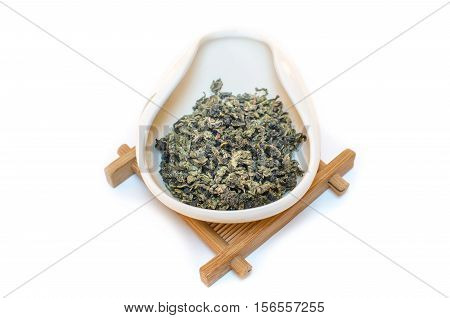 Traditional Chinese tea. Oolong tea. Tea on a white background. Tie Guan Yin