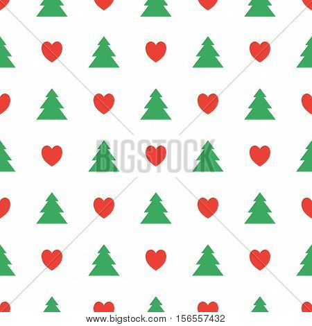 Christmas seamless pattern. Hearts and Christmas Trees. Tileable background for winter holidays. Graphic design element for packaging paper, prints, scrapbooking. Holiday themed design