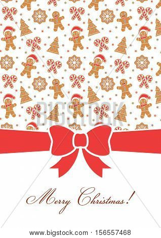 Merry Christmas greeting card. Decorative invitation template. Gingerbread man, Christmas Tree, snow flakes, sugar canes. Poster with red bow. Place for text. Holiday themed design with red bow.