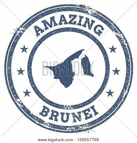 Vintage Amazing Brunei Darussalam Travel Stamp With Map Outline. Brunei Darussalam Travel Grunge Rou