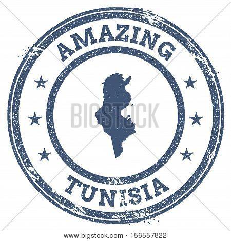 Vintage Amazing Tunisia Travel Stamp With Map Outline. Tunisia Travel Grunge Round Sticker.
