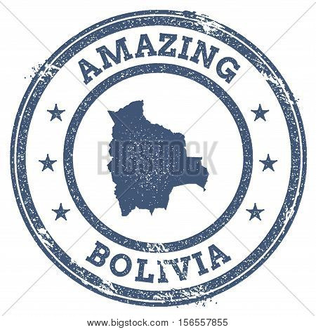 Vintage Amazing Bolivia Travel Stamp With Map Outline. Bolivia Travel Grunge Round Sticker.
