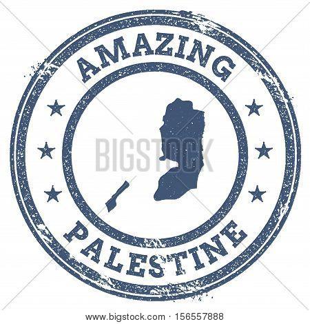 Vintage Amazing Palestine Travel Stamp With Map Outline. Palestine Travel Grunge Round Sticker.