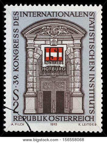 ZAGREB, CROATIA - JULY 02: Stamp printed in Austria, devoted to the Congress International Statistical Institute, shows the Gate, Vienna Hofburg, and ISI Emblem, 1973, on July 02,2014, Zagreb, Croatia