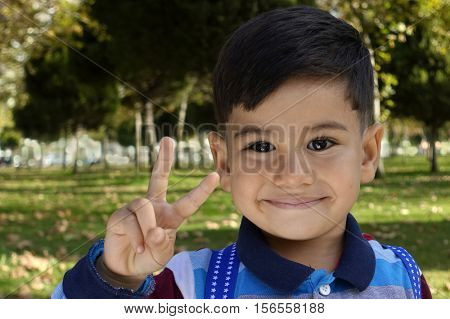 Smiling young little boy gives a Victory Sign