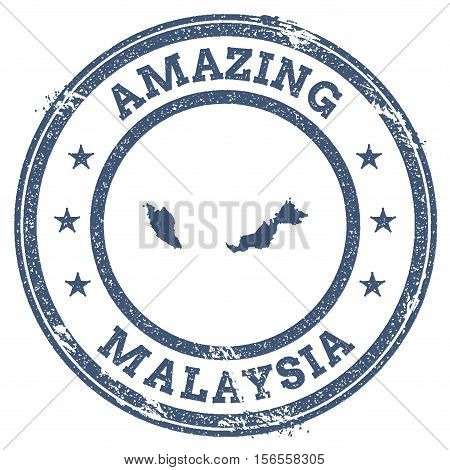 Vintage Amazing Malaysia Travel Stamp With Map Outline. Malaysia Travel Grunge Round Sticker.