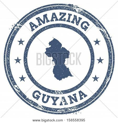 Vintage Amazing Guyana Travel Stamp With Map Outline. Guyana Travel Grunge Round Sticker.