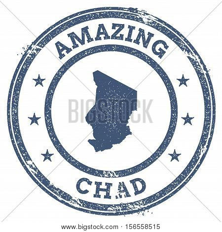 Vintage Amazing Chad Travel Stamp With Map Outline. Chad Travel Grunge Round Sticker.