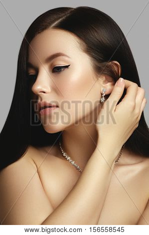 Hair. Beauty Woman With Very Long Healthy And Shiny Smooth Brown