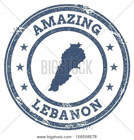 Vintage Amazing Lebanon Travel Stamp With Map Outline. Lebanon Travel Grunge Round Sticker.