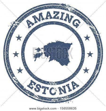 Vintage Amazing Estonia Travel Stamp With Map Outline. Estonia Travel Grunge Round Sticker.
